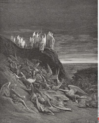 Illustration by Gustave Dore 1832 1883 French artist and illustrator for Paradise Lost by John Milton Book VI lines 410 to 412