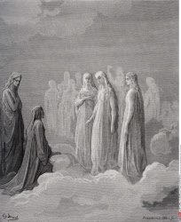 Illustration for Paradiso by Dante Alighieri Canto III lines 14 and 15 by Gustave Dore 1832 1883 French artist and illustrator