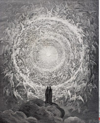 Illustration for Paradiso by Dante Alighieri Canto XXXI lines 1 to 3 by Gustave Dore 1832 1883 French artist and illustrator