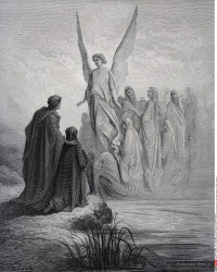 Illustration for Purgatorio by Dante Alighieri Canto II lines 42 and 43 by Gustave Dore 1832 1883 French artist and illustrator