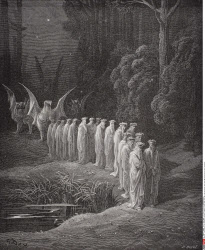 Illustration for Purgatorio by Dante Alighieri Canto XXIX lines 80 to 82 by Gustave Dore 1832 1883 French artist and illustrator