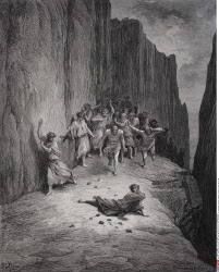 Engraving by Gustave Dore 1832 1883 French artist and illustrator for Purgatory by Dante Alighieri Canto XV lines 103 to 106
