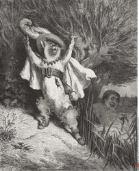Engraving by Gustave Dore 1832 1883 French artist and illustrator of Puss in Boots from Fairy Realm by Tom Hood