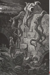 Engraving by Gustave Dore 1832 1883 French artist and illustrator of The Gnarled Monster from The Legend of Croquemitaine by Tom Hood