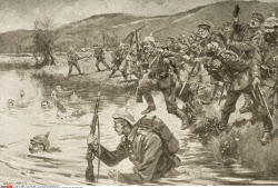 British and French infantry fighting German infantry during battle of the Marne drawn by Archibald Webb
