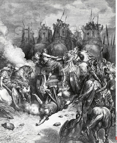 Antiochus Felled in Battle by Gustave Dore, illustration, (1832-1883)